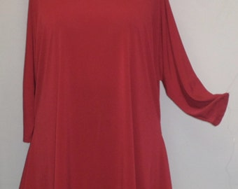 Womens Plus Size Top, Coco and Juan, Lagenlook, Plus SizeTunic,  Red, Traveler Knit Drape Sides Tunic Top, One Size, Bust  to 60 inches