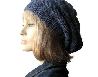 Blue Denim Hand Knit Hat, Beehive Knit Beret, Vegan Hat, Womens Accessories, Denim Slouchy Beanie Hat