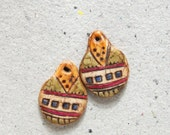 Boho Artisan Earring Charm Pair with Multicolored Geometric Design