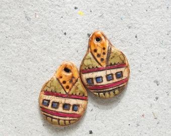 Boho Artisan Earring Charm Pair with Multicolored Geometric Design
