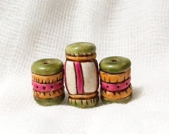 Colorful Boho Cylinder Beads in Pink, Green, and Yellow-- set of three