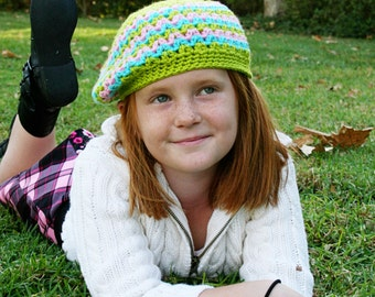 Girls Slouchy Hat or Skull Cap Fitted Beanie Womens Crochet Hat Spring Beanie Striped Hat Multi-Color Winter Hat