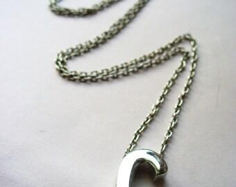 Monogram C Silver Necklace Vintage 8 inch Chain