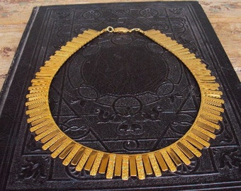 Vintage Statement Necklace Bib Style Necklace Textured Gold Metal Ornate Mod Modernism Costume Jewelry Cleopatra Tribal Ethnic