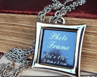 Long Necklace Picture Frame Pendant Photo Frame Textured Chain Silver plate Personalized Pendant