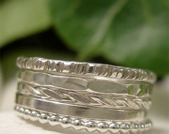 Silver Ring Variety Collection,  Sterling Silver Stacking Ring Set, Five Ring Stack, Mixed Silver Ring Pile, Modern Minimalist Jewelry