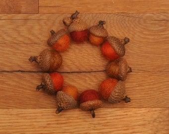 Orange Felted Wool Acorns or Acorn Ornaments, Set of 10