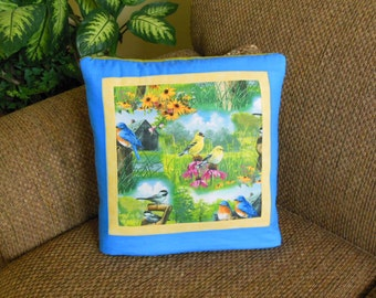 Birds and Blooms QUILLOW - bluebird goldfinch sparrow chickadee - the quilt that folds into a pillow