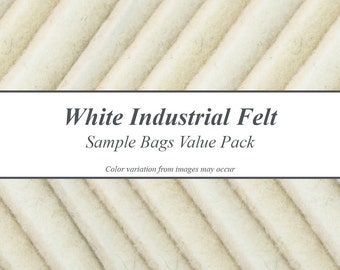 Natural White Industrial Wool Felt Samples Value Pack - Only Natural White Felts, Includes Samples for 4 Types of Felt
