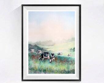 Dairy cows wall art Farmland WatercolorArt Print Landscape with cows watercolor Print  landscape painting Watercolour tree artwork green A
