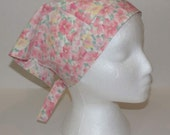 Triangle Kerchief, Adult Triangle Head Scarf, Bandanna, Up-cycled Vintage Floral Sheet