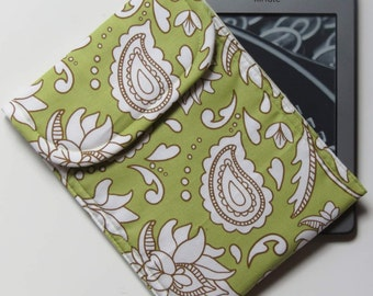 Tech Sleeve or Case for Kindle eReader, Green with White and Brown Paisley