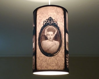 Gothic Bride Of Frankenstein hanging lamp shade Lampshade - gothic decor, classic horror movie, goth decor,ceiling pendant lamp shade,damask