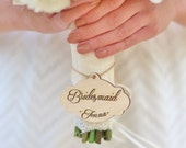 Personalized Bouquet Charm For Bride, Bridesmaid, MOH, Rustic Wedding by Morgann (NVMHDA1120)
