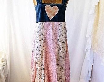 Medium/Large Upcyled Clothing/Fairy Dress/Upcycled Dress/Upcycled fairy Dress/Farmhouse Chic/Anthropologie style/cottage chic/rustic farm