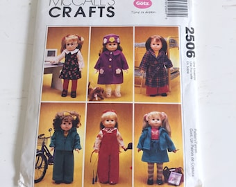 McCall's Pattern 2506 American Girl And 18 Inch Doll Wardrobe That Includes Stuffed Dog Pattern