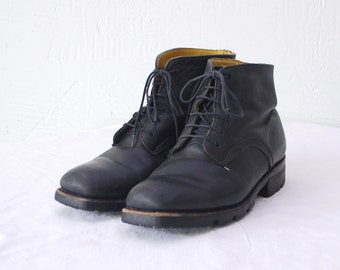 80s ankle boots. black leather boots. grunge boots. work boots - eur 37.5 us 7 uk 4.5
