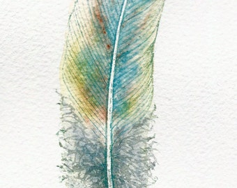 Watercolour feather painting ~ teal blue fantasy feather