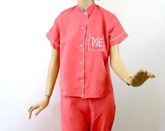 Vintage 40s Pajamas Miss Elaine Coral Pink Acetate Taffeta Lounge Set Size 32 Bust 38