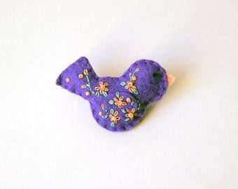 """Felt Bird Pin in Purple with Peach and Green Embroidered Floral and Beaded Embellishments, 2.75 x 1.5"""" Bird Brooch"""