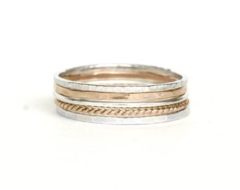 Set of 5 - Skinny Stack Rings - Sterling Silver and gold fill mixed metals - 5 texture set, 2 tone, 2 metals, 2 color ring set
