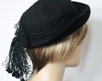 Vintage Hat Black Felt Velvet Hat 1940's Net Veil Chapeau Wool Hat Mid Century Woman's Costume Hat