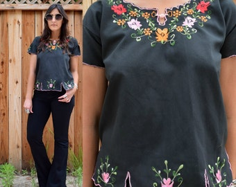 Vintage 70s Black Floral EMBROIDERED TUNIC Blouse S