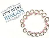 Sock markers, MINI ringos, knitting stitch markers - ITSY BITSY rasberry