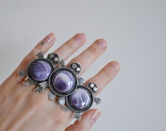 Your Custom One Eye Wampum Turtle Totem Silver Ring