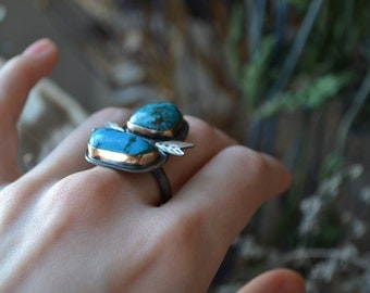 Double Blue Turquoise Silver Statement Ring