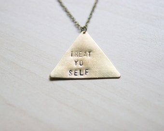 Treat Yo Self Brass Triangle Necklace << Parks And Rec Leslie Knope Jewelry >> Handmade Necklace