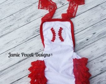 Baseball Romper - Toddler Bubble Romper -1st Birthday Outfit-Baby Sunsuit Bubble Romper-Ruffle Bottom-Beach Outfit-Photo Prop-Baseball