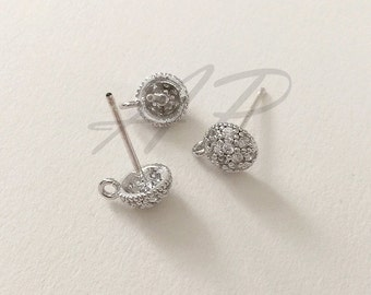 Earring Post, Wedding Earring,  Earring Component, Original Rhodium Plated over Brass Cubic Zirconia Silver Tone 2pc with Butterfly Clutch