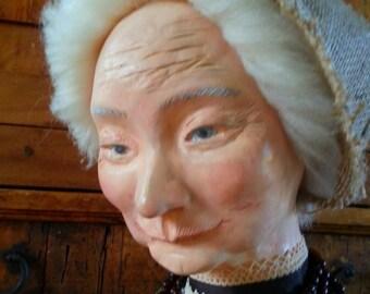 OOAK  folk ART DOLL Ms. Kruga , a dollmaker