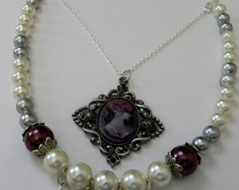 Victorian Cameo Necklace With Pearls-Sterling Silver Chain Necklace-Bridal Formal Wear-Purple And White Cameo Pendant-Statement Necklace