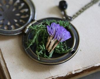 Botanical Locket - Moss and Flower