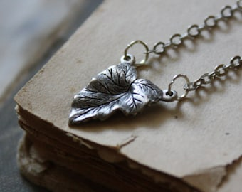 Leaf Necklace - Woodland Necklace - Silver Leaf Necklace - Nature Necklace