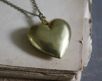 ON SALE Puffy Heart Necklace - Vintage Heart Charm