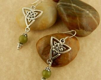 Ireland's Connemara Marble and Celtic Trinity Knot Earrings