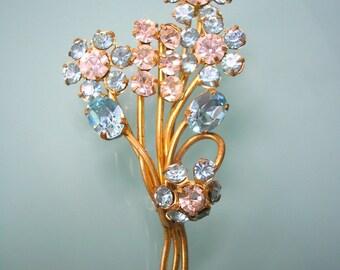 Blue Rhinestone Brooch, Bridal Sash Brooch, Shawl Pin, Wedding Jewelry, Vintage Brooch, 1950s, Pale Blue, Flower Brooch, Aqua, Turquoise