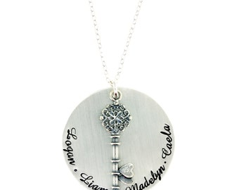 Sterling Silver Keepsake Necklace with Fancy Key Charm