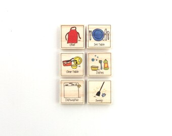 Meal Time - Chore Magnet Set of 6 - Chore Chart Magnets