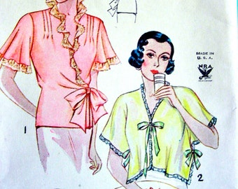 1930s Simplicity  Pattern 1559 -- GLAMOROUS Ladies' Bed Jackets in 3 Styles * Bust 36-38