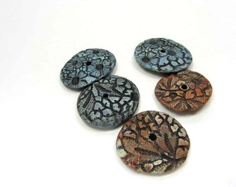 Lace Disks, Ceramic Disc Beads, Handmade Artisan Clay Bead Supply No. 113