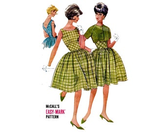 1960s Bouffant Dress, Jacket Pattern Full Skirt Sleeveless Wide Midriff V Back McCalls 6147 Bust 32 Vintage Sewing Pattern Rockabilly Dress