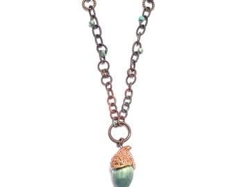 Green Acorn Necklace, Autumn Necklace, Art Bead Necklace