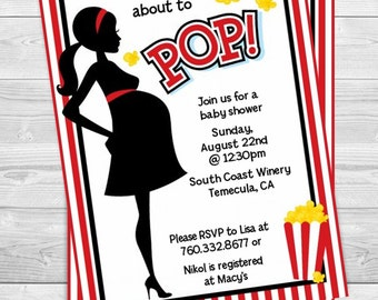 Ready To Pop Red - Baby Shower Invitation  - Professionally printed *or* DIY printable PDF