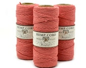 Hemp Twine, Coral, 1mm Hemp Cord,   Hemp Jewelry Cord, Pink Twine, Macrame Supplies  -T21
