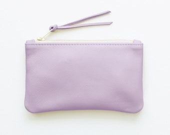 Small Lavender Leather Clutch, Purple Zip Pouch, Leather Zip Wallet, Small Cosmetic Pouch, Pastel Purple Everyday Clutch, Wedding Clutch