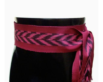 Cranberry Ikat Red Sash SA58 - Bohemian Belt - Boho Gypsy Clothing - Guatemalan Textiles - Woven Ethnic Belt - Pirate Costume Accessories